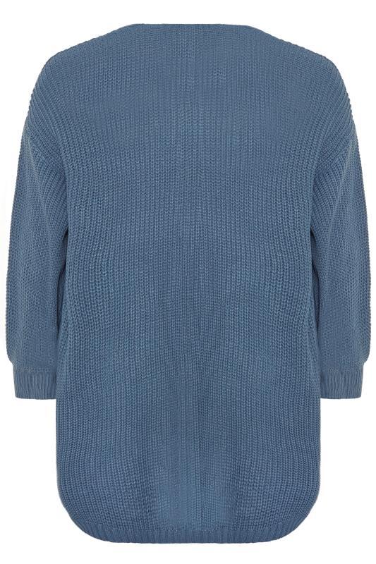 Blue Oversized Balloon Sleeve Knitted Cardigan