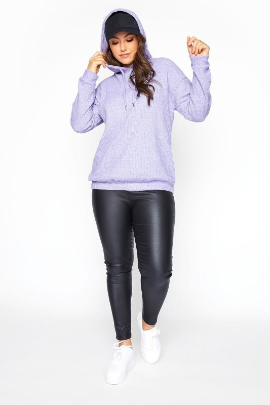 Lilac Purple Waffle Knitted Hoodie