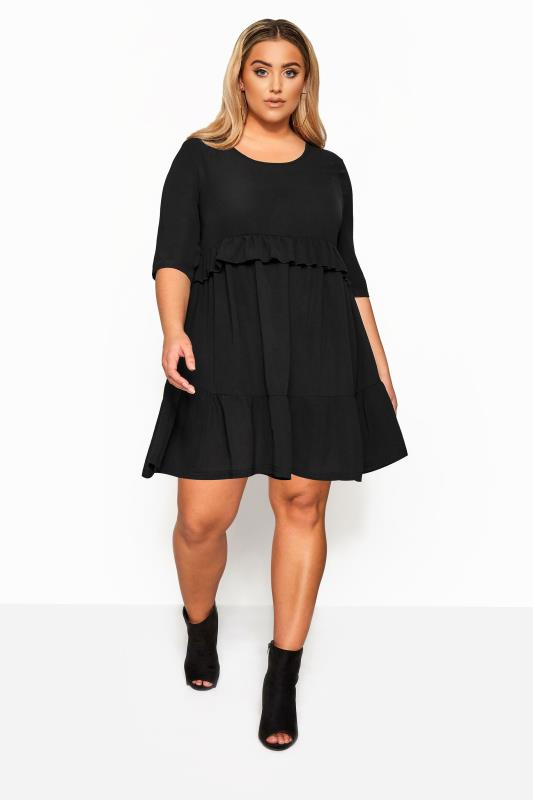 LIMITED COLLECTION Black Double Layer Woven Smock Dress