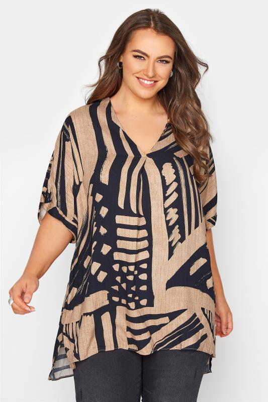 Plus Size  Mocha Brown Abstract V-Neck Pleated Front Shirt