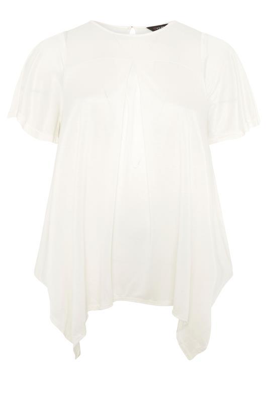 Plus Size  Cream Hanky Hem Tunic