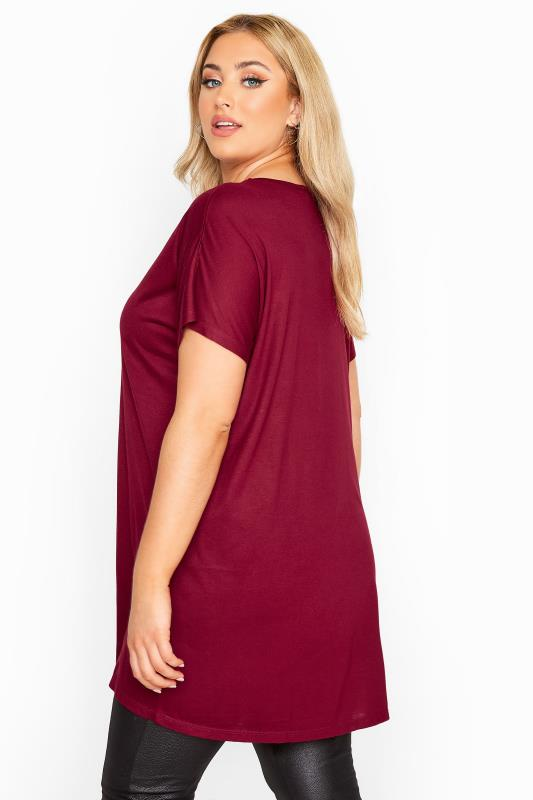 Berry Red Jersey Dipped Hem Top