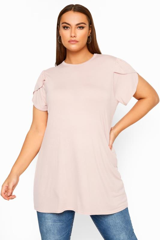 Plus Size Jersey Tops LIMITED COLLECTION Pink Wrap Sleeve Top