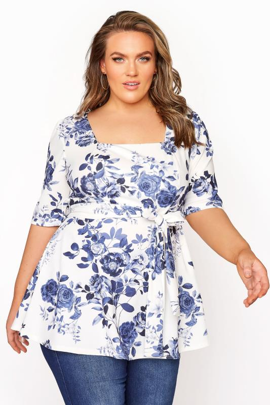 YOURS LONDON Blue Flower Square Neck Peplum Top_A.jpg