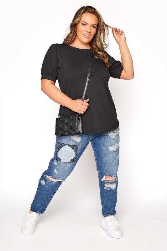 Black Puff Sleeve T-Shirt