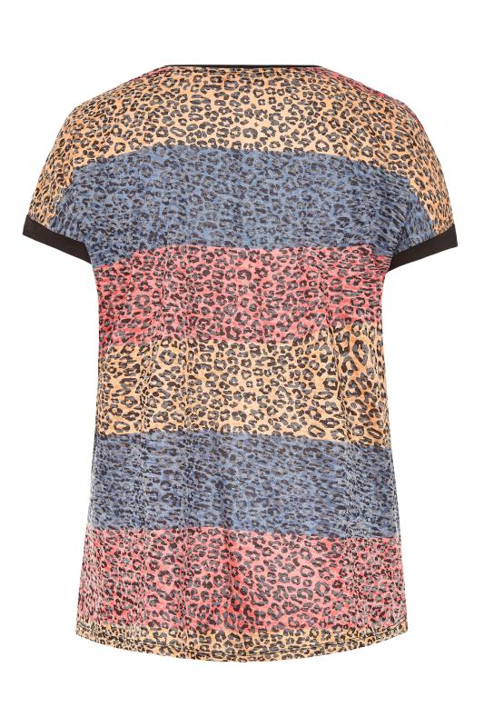 Pink Leopard Print Colour Block T-Shirt_BK.jpg