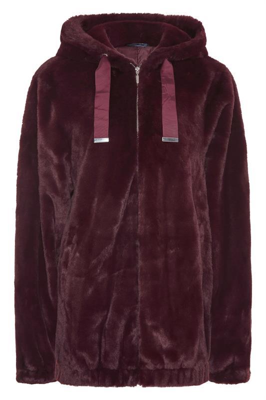 LTS Wine Red Oversized Faux Fur Jacket_F.jpg