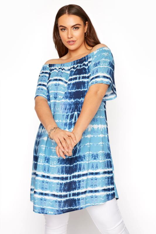 Blue Tie Dye Gathered Gypsy Tunic_A.jpg