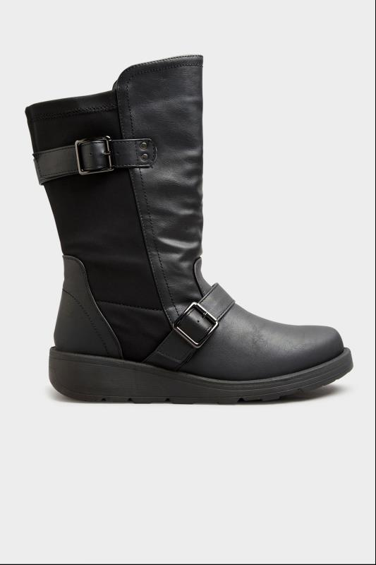 Black Faux Leather Wedge Buckle Boots In Extra Wide Fit_A.jpg