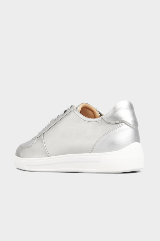 Silver Vegan Leather Lace Up Trainers In Extra Wide Fit