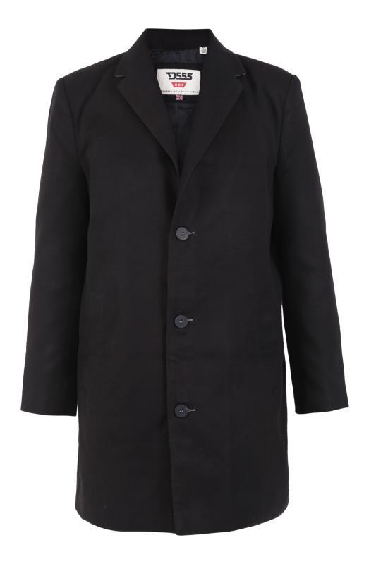 Großen Größen  D555 Black Single Breasted Long Coat