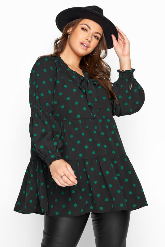 LIMITED COLLECTION Black Polka Dot Tiered Bow Blouse