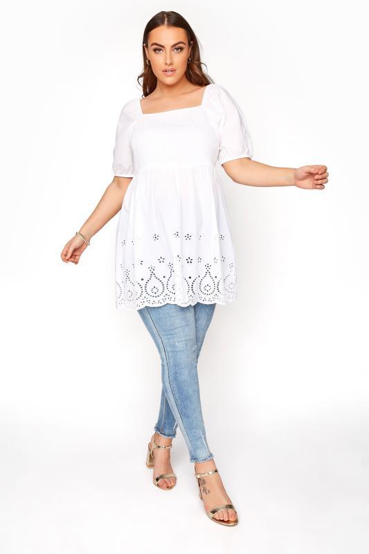 White Shirred Peplum Milkmaid Top