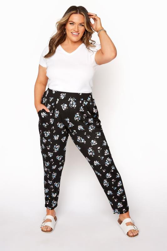 Plus Size  Black Pastel Floral Print Pleated Harem Trousers