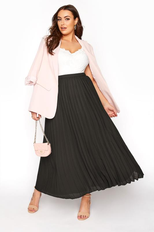 Grande Taille YOURS LONDON Black Chiffon Pleated Maxi Skirt