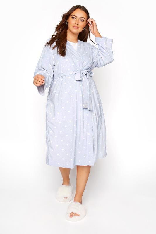 Plus Size  Powder Blue Flannel Fleece Heart Dressing Gown