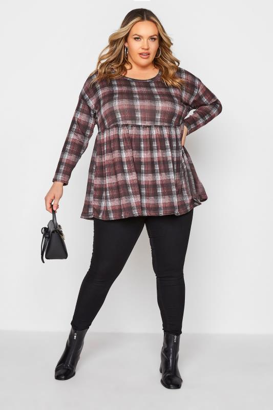 Red & Grey Knitted Check Smock Top_B.jpg
