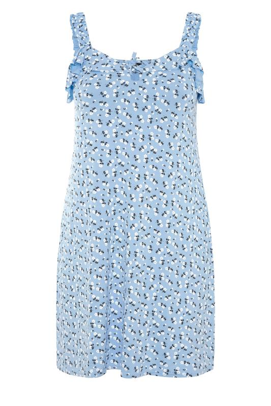 LIMITED COLLECTION Blue Floral Strappy Frill Dress_F.jpg