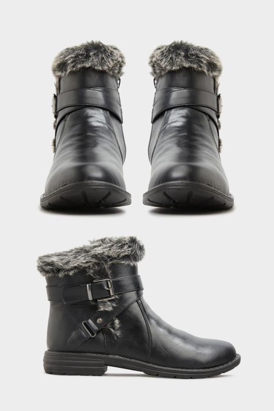 Black Vegan Faux Leather Buckle Ankle Boots In Wide Fit_split.jpg