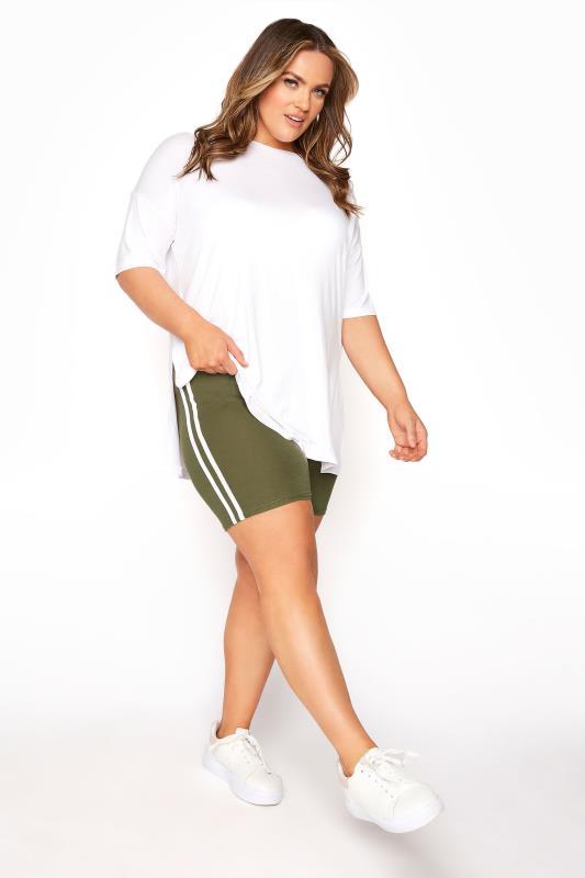 Khaki Side Stripe Cycle Shorts_A.jpg