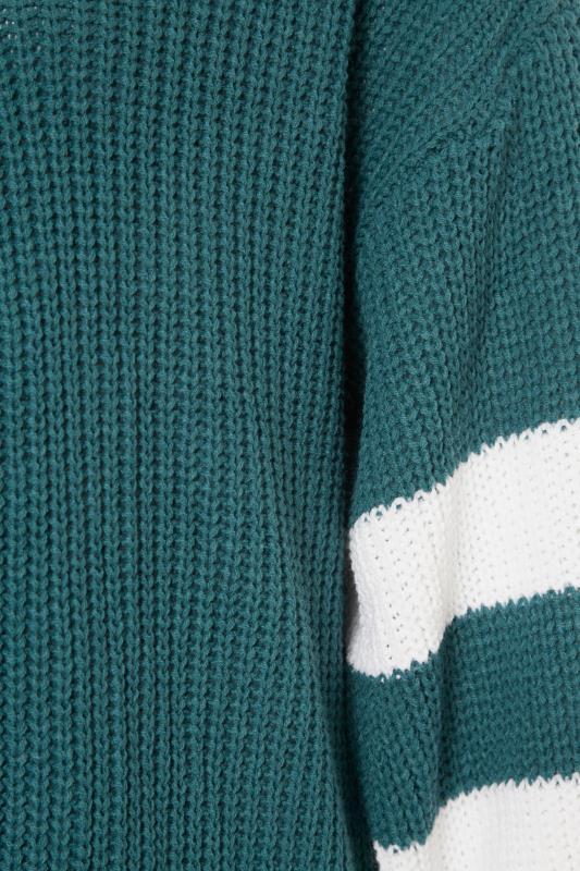 Teal Green Varsity Stripes Knitted Cardigan_S.jpg