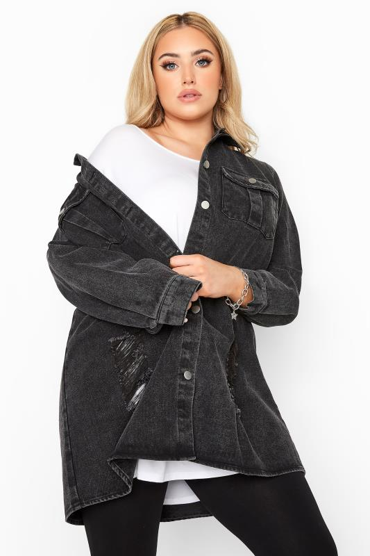 Tallas Grandes LIMITED COLLECTION Black Washed Distressed Longline Denim Shacket