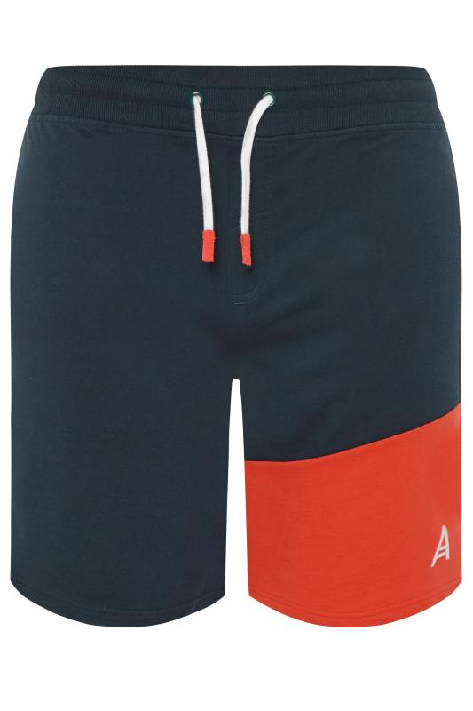 Plus Size Jogger Shorts STUDIO A Navy & Red Colour Block Shorts