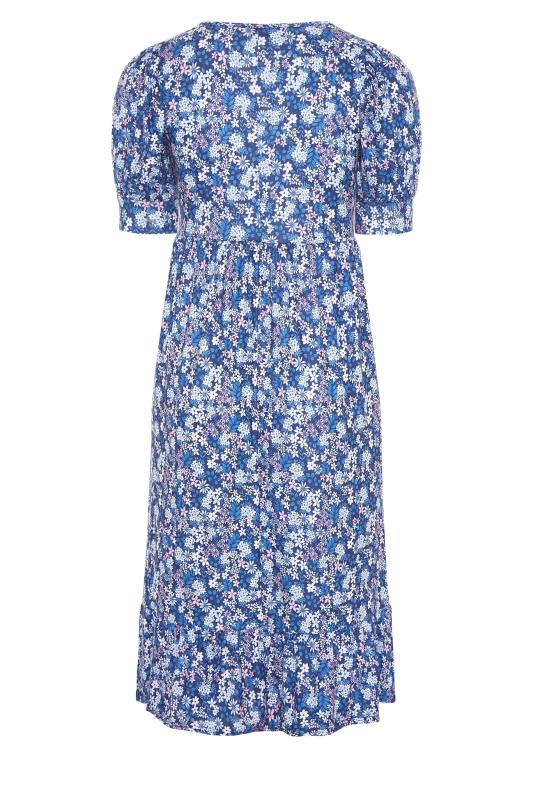 YOURS LONDON Blue Ditsy Tiered Dress_BK.jpg