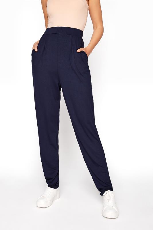 LTS Navy Double Pleat Jersey Harem Trousers