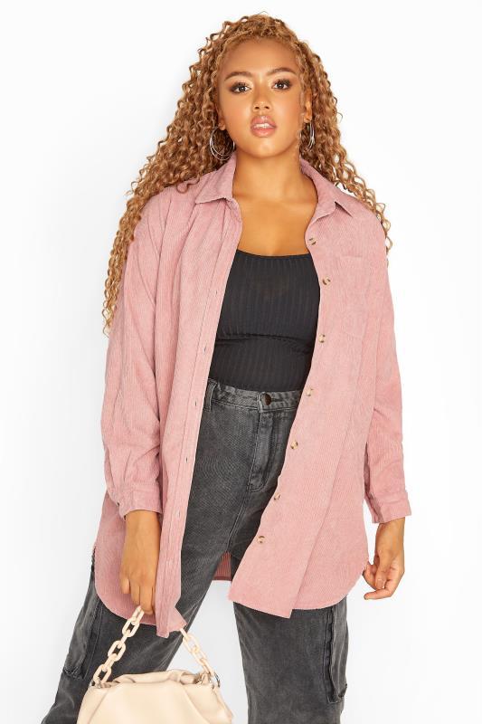 Plus Size  Dusky Pink Cord Longline Shirt