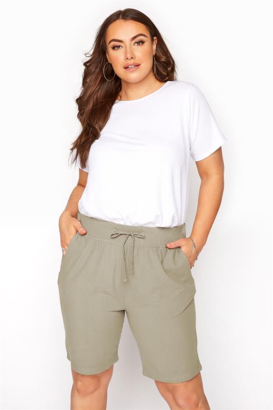 Plus Size  Khaki Cool Cotton Shorts