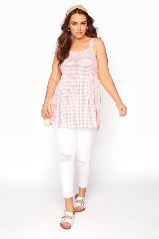 Pink Shirred Gingham Vest