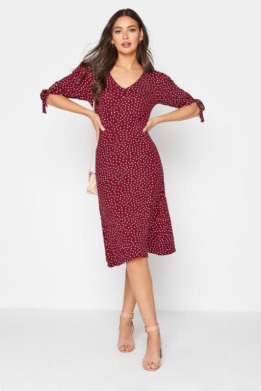 LTS Red Polka Dot Tie Sleeve Midi Dress