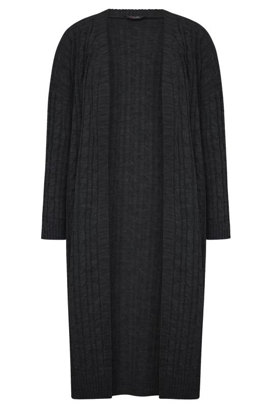 Plus Size  Black Cable Knit Longline Cardigan