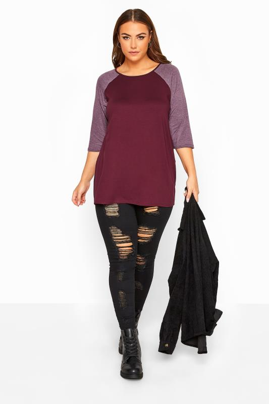 LIMITED COLLECTION Plum Raglan Sleeve Top