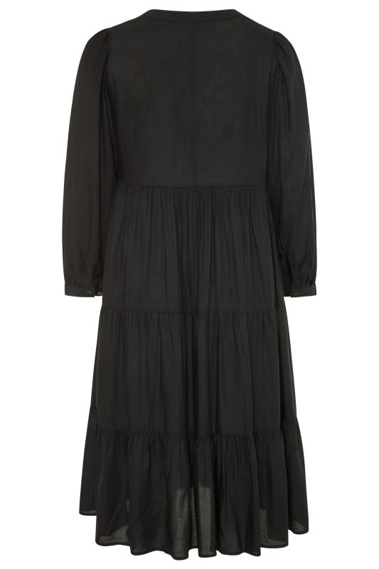 LIMITED COLLECTION Black Tiered Smock Midi Dress