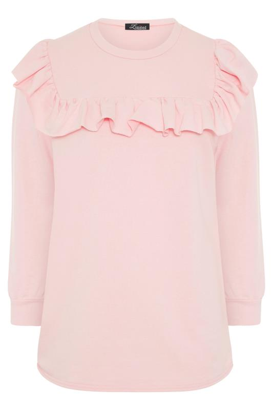 LIMITED COLLECTION Washed Pink Frill Sweatshirt_F.jpg