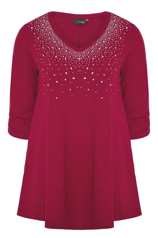 Berry Pink Diamante Stud Knitted Top