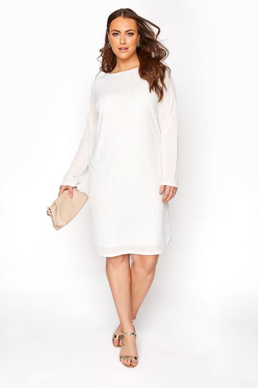 YOURS LONDON White Silver Foil Shift Dress