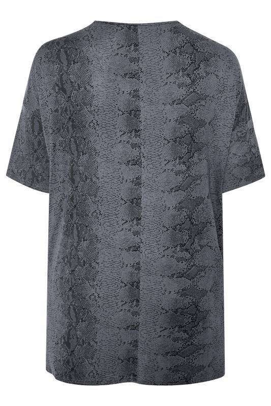 LIMITED COLLECTION Charcoal Grey Snake Print Oversized Top