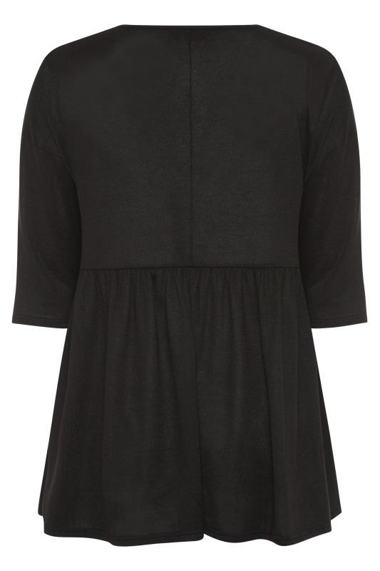 Black V-Neck Knitted Peplum Top_BK.jpg