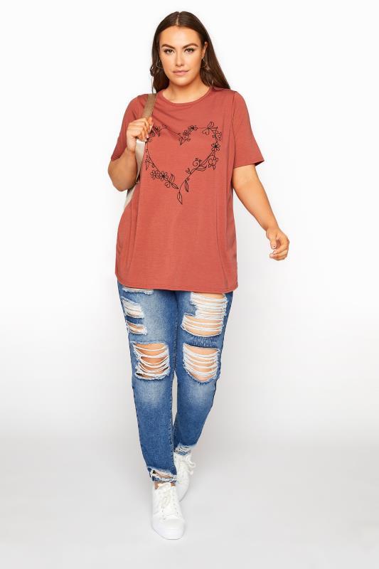 LIMITED COLLECTION Rust Heart Print T-Shirt_B.jpg