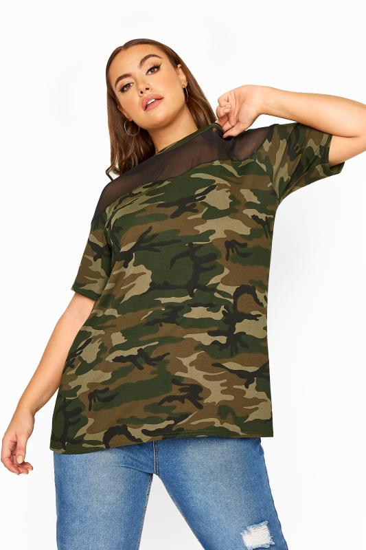 LIMITED COLLECTION Green Camo Mesh Insert Top