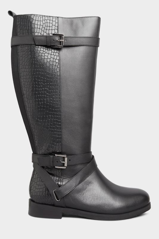 Black Leather Buckle Calf Knee High Riding Boots In Extra Wide Fit