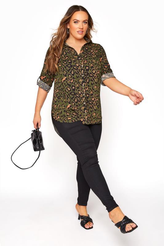 Khaki Leopard Print Longline Shirt