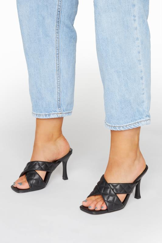 Großen Größen  LIMITED COLLECTION Black Cross Quilted Stiletto Mules In Extra Wide Fit