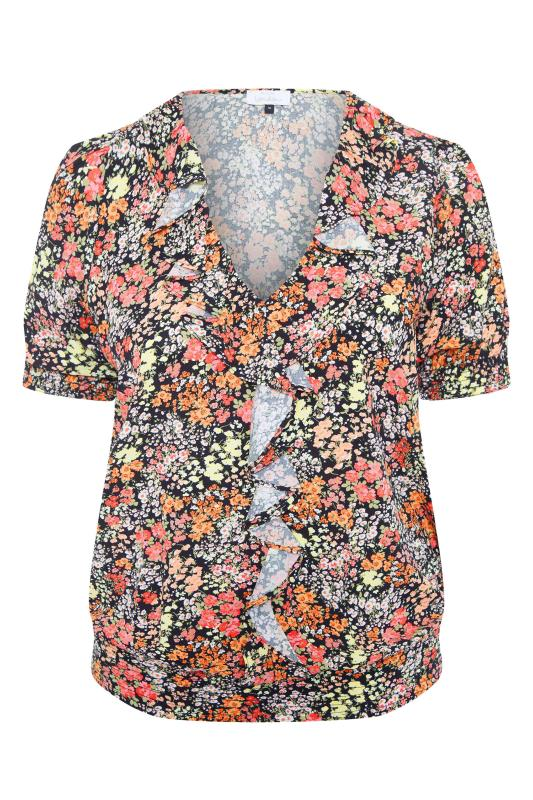 YOURS LONDON Black Floral Shirred Frill Top_F.jpg