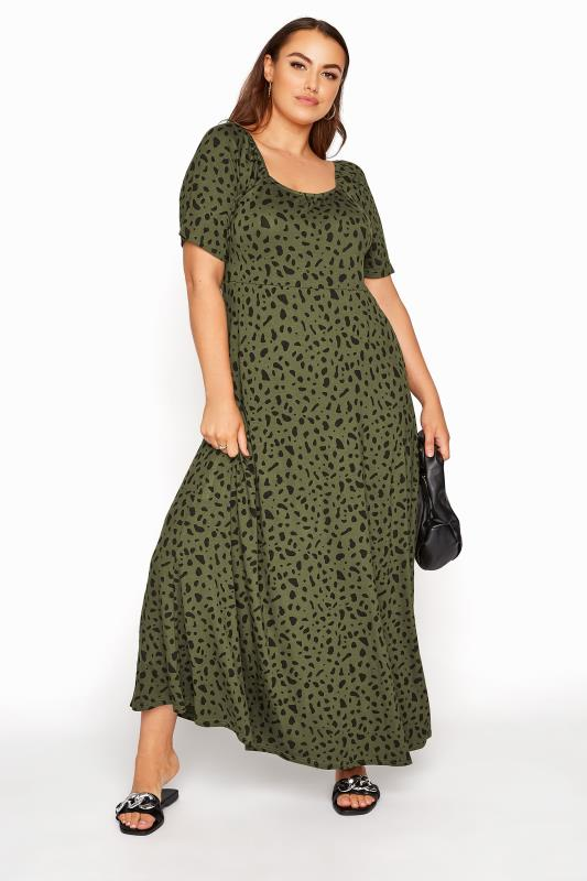 Grande Taille LIMITED COLLECTION Khaki Animal Print Maxi Dress