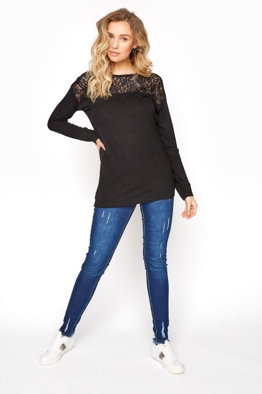 LTS Black Lace Front Top