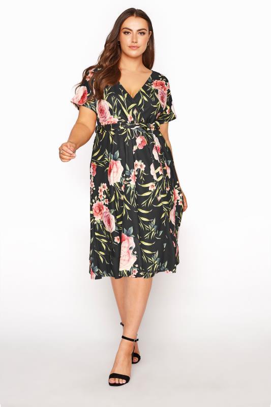 Plus Size  YOURS LONDON Black Floral Wrap Skater Dress